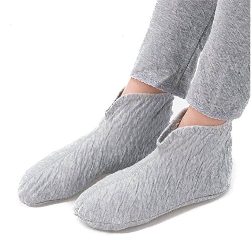 【おやすみフットウォーマー:3足セット】東洋紡の吸湿発熱繊維使用 あったか靴下 メンズ レディース (レディース, グレー)