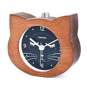目覚まし時計 アナログ FIBISONIC 大音量 置き時計 連続秒針 音無し アラーム スヌーズ 照明ライト付き 木製 電池式 小型 かわいい キャラクター S708(ブラウン・猫)