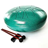 REGIS Steel Tongue Drum 13 Notes12 Inches Chakra HandPan Drum Percussion Padded Travel Bag and Mallets (green)