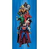 JP Import DC Comics Justice League Heroes Superman, Batman, Wonder Woman, Flash, Green Lantern, Aquaman & Cyborg Fiber Reactive Beach Towel 100% Cotton [並行輸入品]