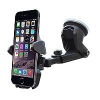 Diaoaokiss 車載ホルダー 吸盤 強力 伸縮可能 車載スタンド 360度回転 脱着簡単 片手操作iPhone/Android 多機種対応