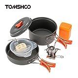 TOMSHOO キャンピング鍋 ・ストーブ(圧電点火装置付き) セット アウトドア用コッヘルセット キャンプ・ポット キャンプ食器セット 収納袋付き
