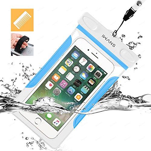 iWANS 防水ケース スマホ用防水ポーチ 防水等級IPX8 高感度PVCタッチスクリーン お風呂 温泉 潜水 5.5インチまでのiPhoneとAndroidスマホに対応可能 BLUE