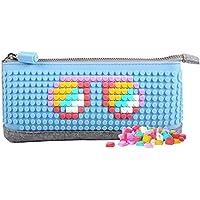 Upixel ペンシルケース 筆箱 B002 スカイブルー フリーチップ80ピース付属 レゴ LEGO コンセプト ドット絵 マイクラ 脳トレ ゲーム オリジナル
