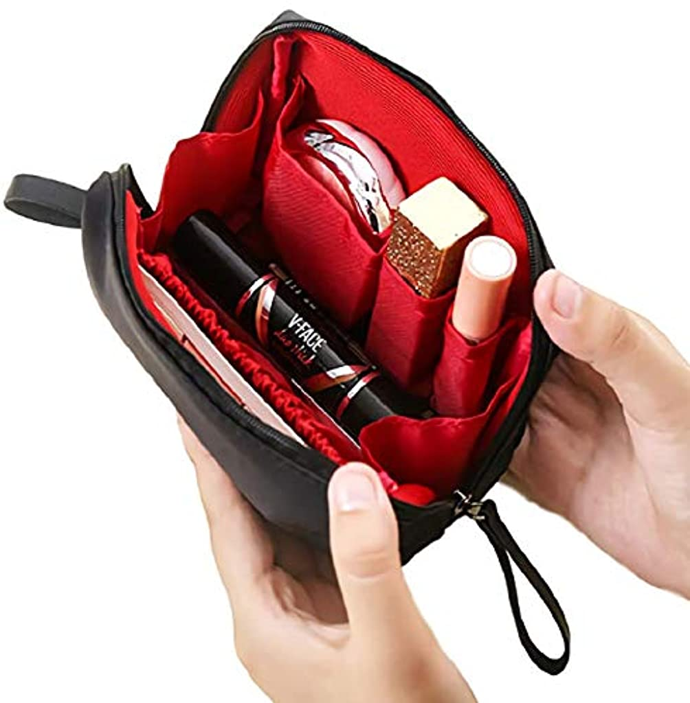 スーパーマーケット層桁[ウレギッシュ] 化粧ポーチ コンパクト メイクポーチ 化粧品 化粧道具 収納 バッグ (ブラック in レッド)