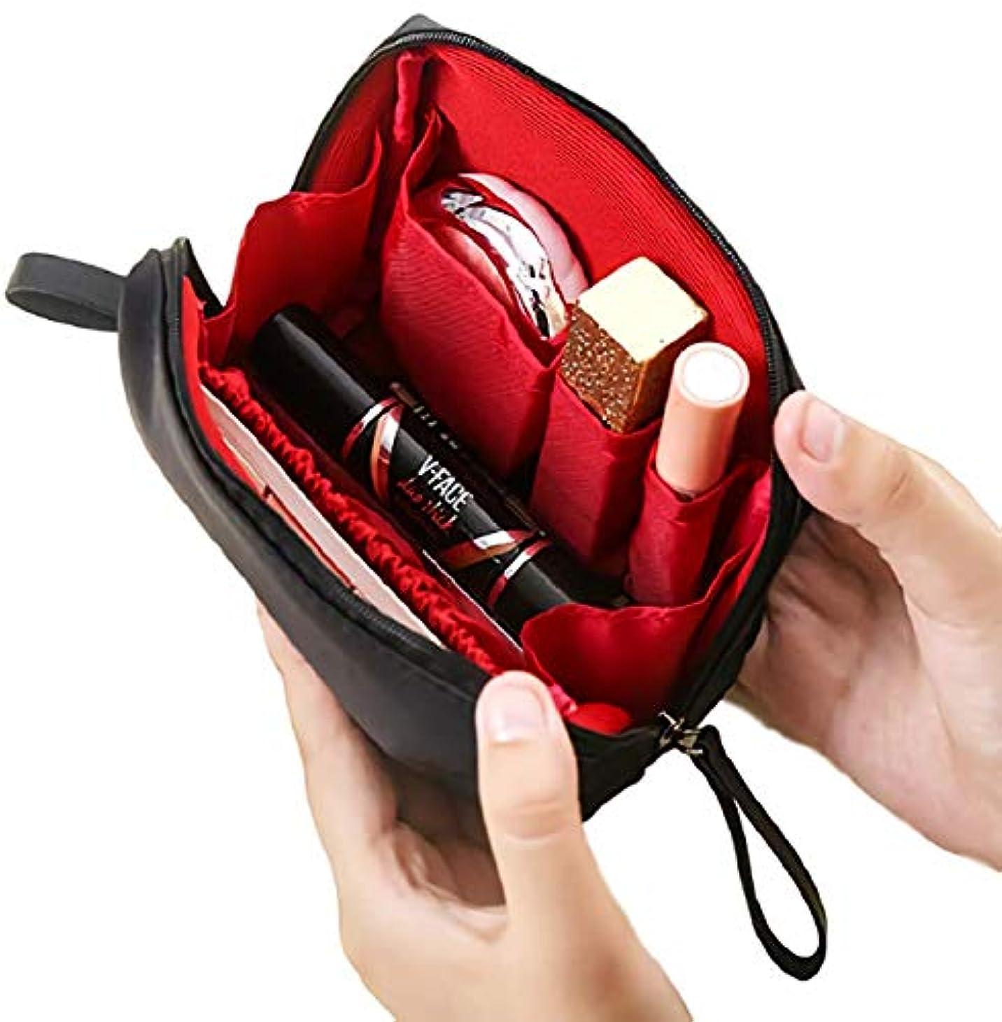 きしむ帆に話す[ウレギッシュ] 化粧ポーチ コンパクト メイクポーチ 化粧品 化粧道具 収納 バッグ (ブラック in レッド)