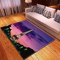 ラグマット 撥水 ラグ オレンジ色カーペット おしゃれ 99X150CM エッフェル塔パリのリビングルームカーペット寝室レストランマットリビングルームl18123101景色