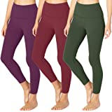 SYRINX High Waisted Leggings for Women - Opaque Slim Tummy Control Pants for Yoga Workout Running, womens, 3 Pack Olive, Wine