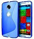 Google Nexus6 TPU グリップカバーケース ネクサス6 simフリー 32GB 64GB / Y mobile (ワイモバイル) Nexus 6 対応 薄型軽量27g / 滑止め加工 / ソフトフィットモデル / 半透明クリア【MY WAY 出品カラー全6色:簡易防水パッケージ】 (Google Nexus6, Design S Blue (青))