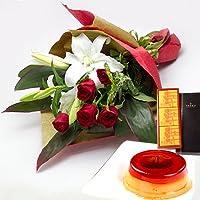 結婚記念日 金婚式 還暦 長寿のお祝い 銀座 千疋屋 マロンプリンA & ユリの花束(赤) (SE)
