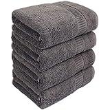 100%綿 バスタオル 4枚(60×130cm.300g) 選べる多色 柔らかいふわふわ 吸水抜群 速乾 家庭用/業務用/ホテル/スポーツなどに最適 (ダークグレー)
