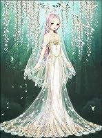 Huihuart フレームレス白いウェディングドレスクロスステッチリビングルームの寝室の装飾の絵画、45x58cmのDIYの手埋め込まれた5Dダイヤモンドの女の子パターン
