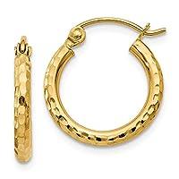 FB Jewels ソリッド 14K イエローゴールド ダイヤモンドカット 2mm ラウンド チューブ フープ イヤリング