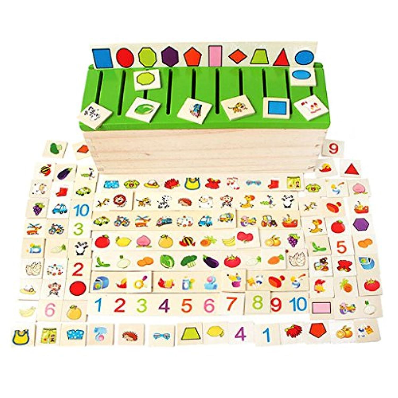 Fenteer 知育玩具  ソートボックス 約80個入り はめこみ 図形 動物 木製  創造力 贈り物