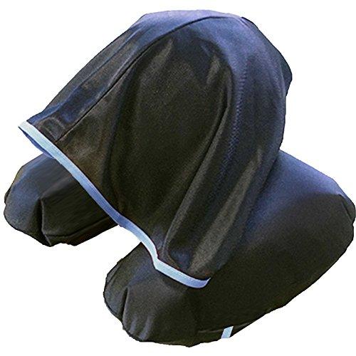 寝顔を見せずにぐっすり眠れる 安眠 フード付き ネックピロー 日本製  ブラック×ブルー