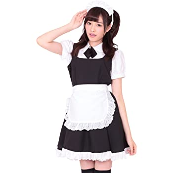 A&TCollection フレッシュ☆メイド ピュア系 メイド服 コスチューム 黒×白 レディース Mサイズ