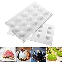 bleumoo 1pc 15Latticesノンスティックシリコンラウンド形状Mini Truffles形状Baking Molds Mousse Iceクリームチョコレートデザートケーキ装飾ツールホワイト
