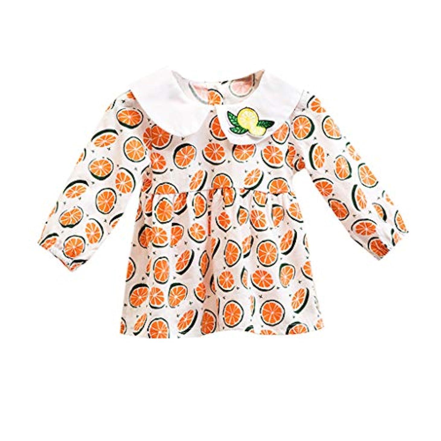 船酔い教育者応じる幼児の赤ちゃんの女の子長袖ドレス幼児子供フルーツ花柄プリンセス服カジュアル快適な服服0-24M