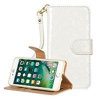 【Marxilous】iphone 7/ iphone 8 対応 花柄 ケース 純色 手帳型 横開き レザー 革 カバー マグネット式 カードポケット スタンド機能 アイフォン7 8 用 財布型 カバー ストラップ付き (iphone 7/ iphone 8, ホワイト)