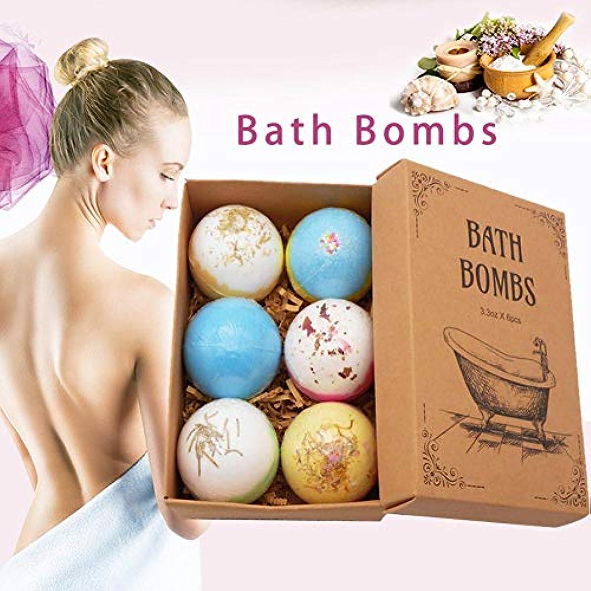 蒸発にやにや調停者AIMERKUP 6PCSバスボム 自然な手作りの海塩ラベンダー風呂爆弾 母のガールフレンドのためのスパ発泡爆弾ギフト fun