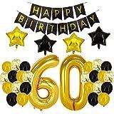 60歳の誕生日デコレーション - ブラックとゴールドのパーティーデコレーション バースデーバナー 60の数字のバルーン 60歳の誕生日ギフト レディース メンズ