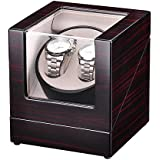 Yescom Automatic Double Watch Winder Display Box Cherry Wooden White Lint Inside Storage Organizer Case