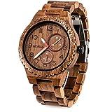 Bewell 腕時計 木製 メンズ 日本製クオーツ アナログ 日付き 夜光 男性用 ヴィンテージ 復古 木製腕時計 誕生日ギフト クリスマスプレゼント 贈り物(クルミ)