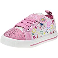 Peppa Pig Kids Toddler Girls Jeweled Toe Pink Floral Canvas Sneakers Lace Hook and Loop Strap (See More Sizes)