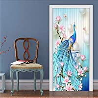 Wuyyii 現代のクリエイティブ3Dステレオ孔雀壁ドアステッカーリビングルームの寝室の家の装飾デザインドアポスタービニール壁壁画3 D-120X100Cm