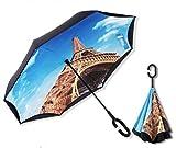 逆向傘 晴雨兼用 傘の進化版 次世代型 二層生地 遮熱&遮光 男女兼用 傘が邪魔にならないC型(108cm) (エッフェル塔)