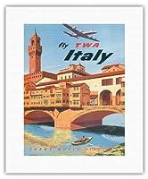 イタリア - TWA (トランス・ワールド航空)で飛ぶ - フィレンツェフィレンツェ - ビンテージな航空会社のポスター によって作成された フランク・ラカノ c.1950s - キャンバスアート - 28cm x 36cm キャンバスアート(ロール)