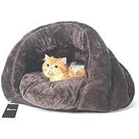 Bwiv ペット用寝袋 犬/猫 ベッド ペットハウス クッション ドームべッド 秋冬 洗える 保温防寒 暖かい休憩所 ブラウン S