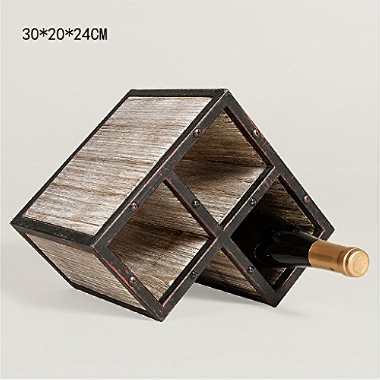 ワインホルダー レトロ古いワインラックワインラッククリエイティブウッドラックワインホルダー ワインラック (サイズ さいず : M)