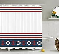 "Nauticalシャワーカーテンby lunarable、Lifebuoys Anchors Classic Sailor Stripes Sea Lifeホビーヨットデザイン、ファブリックバスルームDecorセットwithフック、Petrolブルーホワイトレッド 69"" W By 70"" L 43237-2"