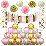(pink three) - Pink Christmas Decorations,Balloons,Pom Poms Flowers,Paper Garland,Tassels,Hanging Swirl by Litaus