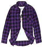 (クラベルテ) crbelte メンズ チェック 柄 シャツ長袖 選べる5色 (XL, パープル)