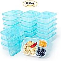 ランチボックスセットロイヤルプレート–20-packの3-compartment Divided食品ストレージコンテナボックスwith Lids–Meal Prep弁当ボックスセット–BPAフリー、再利用可能な–電子レンジ、食洗機と冷蔵庫セーフ
