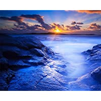 (Frameless) - [Frameless] Diy Oil Painting, Paint By Number Home Decor Wall Pic Value Gift Christmas Gift- Sunset sea view 41cm x 50cm