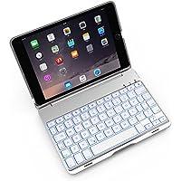 Bosssee iPad Miniキーボードケース F8S アルミニウム合金 ミニクラムシェルケース 7色バックライト付き ワイヤレスBluetoothキーボード保護カバー iPad Mini 2/3対応 for mini 2/3 シルバー F8SMini
