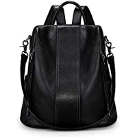 S-ZONE Women Soft Leather Backpack Antitheft Rucksack Ladies Shoulder Bag Medium