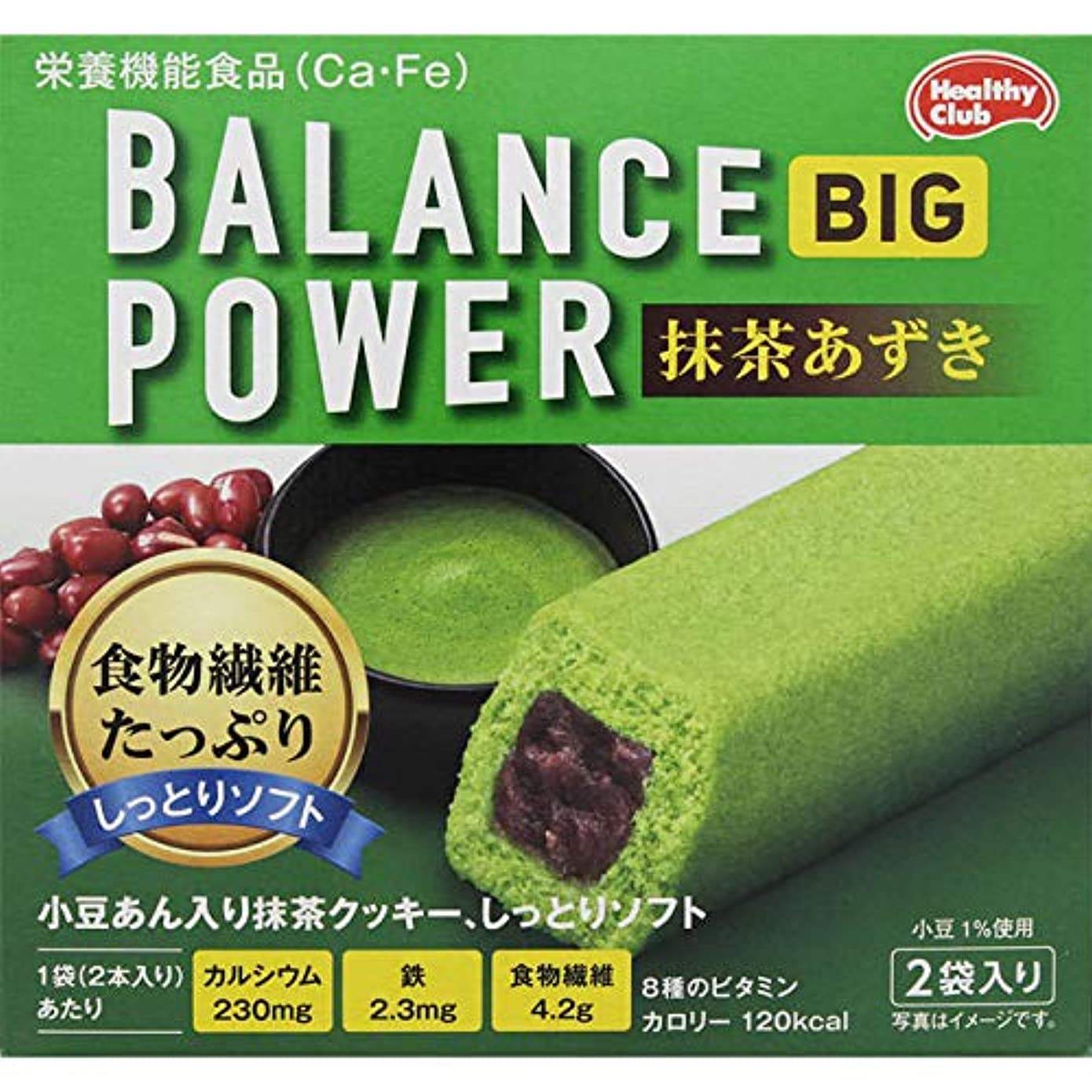 地球口ひげ火薬ハマダコンフェクト バランスパワー ビッグ 抹茶あずき 4本