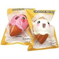cinhent 1pc Elven Ice Cream Sweet Corn Squishyスーパージャンボ香りつきSlow Rising Rare Funおもちゃfor Children Hand Play (ランダムカラー)