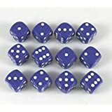 Purple Dice White Pips D6 12mm (1/2in) Pack of 12 Wondertrail WCX25807E12