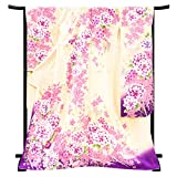 [京都の着物屋かさね] 振袖 仕立て上がり 着物 白 藤色 牡丹 蝶 正絹 フォーマル 礼装 絹 仕立て済み 振袖フルセット f-296