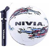Niviaサッカーボールコンボ( Nivia Stormサッカーボール、サイズ5 +ダブルアクションボールエアポンプ)ホワイト