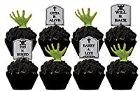 Halloween Party Tombstone Graveyard Cupcake Picks - 24 pcs by Bakery Supplies