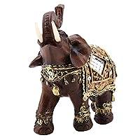Qiilu 象 ゾウ 彫刻象 象の置物 風水グッズ 幸運 樹脂 手工芸品 装飾品 かわいい動物 ホーム オフィス お店 レストラン 木目(大)