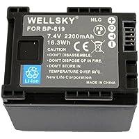 [WELLSKY] CANON キヤノン iVIS アイビス BP-819 / BP-819D 互換バッテリー [ 純正充電器で充電可能 残量表示可能 純正品と同じよう使用可能 ] HF10 / HF100 / HF11 / HG21 / HF20 / HF21 / HFS10 / HFS11 / HFS21 / HFM31 / HFM32 / HFM41 / HFM43 / HFG10 / XA10 / HF G20 / HF G21