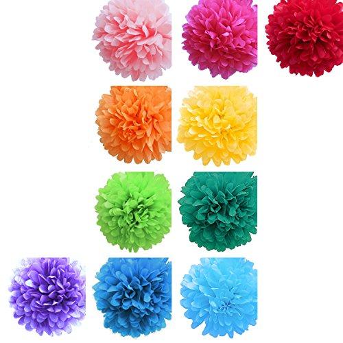 ペーパーフラワー・ペーパーポンポン カラフル 虹色 10色 大小2サイズ ( 20個 ) / ( 35cm : 10個 ) + ( 15cm : 10個 ) / 20個セット … 1616&co.