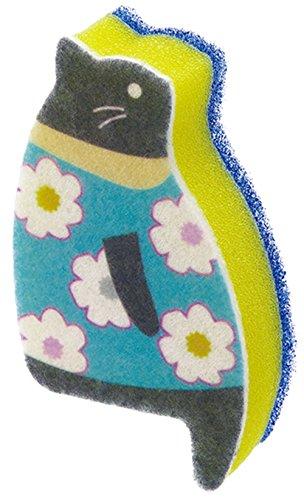 おすわりスポンジ 子ネコ 花柄 ブルー